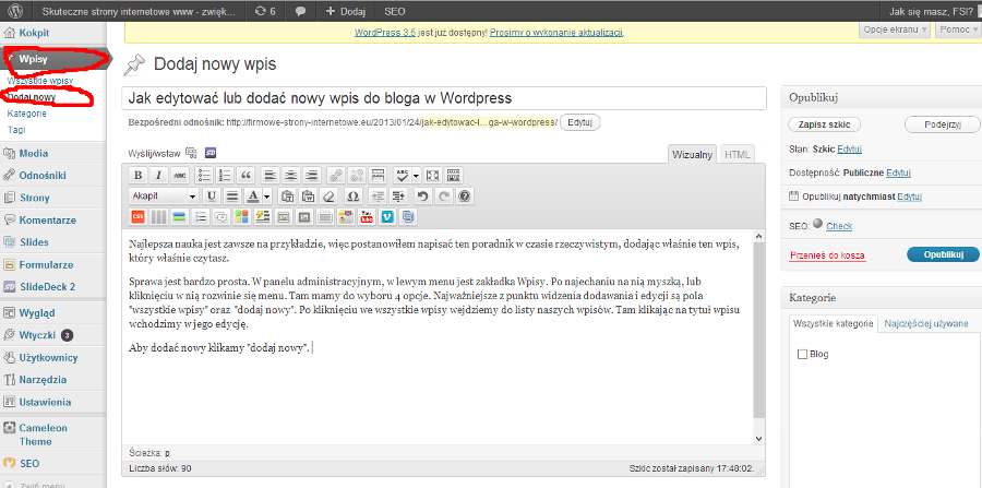 Jak dodać wpis w WordPress lub edytować stary